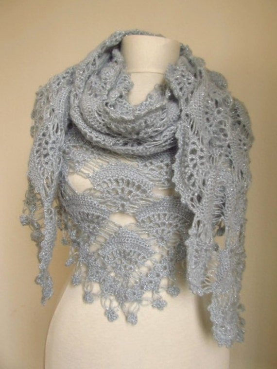 Christmas gift -Crochet Hand Silver Glitter GREY Shawl...wedding bridal shawl.knitting, fashion,shrug,stole, capelet,  scarflette,