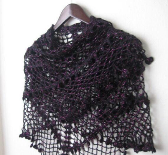 FREE SHIPPING..BLACK Pink glimmers  triangle shawl..wedding,shawl, knitting, necktie, shrug, wrap, stole, capelet, black, scarflette