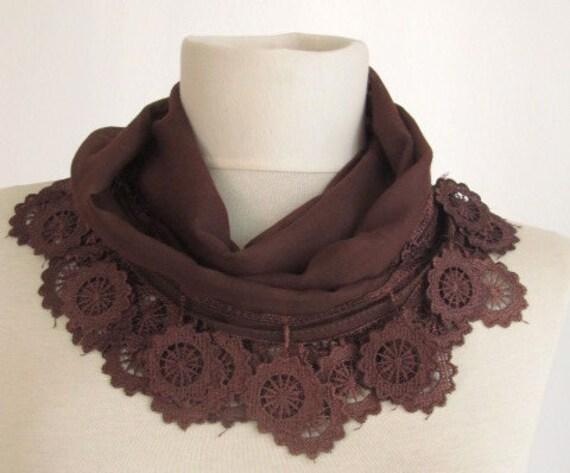 Traditional  Turkish Fabric Fringed DARK BROWN snail Guipure  Scarf ..bandana,headband,wedding,bridal,authentic, romantic, elegant, fashion