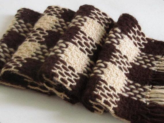 Christmas gift -Dark Brown & Cream Men Scarf Handmade Crochet...