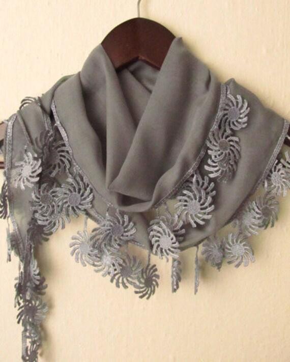 Turkish Fabric GREY Guipure  Scarf ..wedding,bridal,authentic, romantic, elegant, fashion