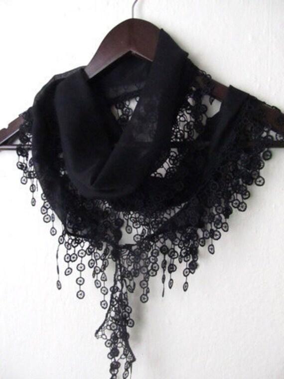 BLACK Turkish Fabric Fringed  Guipure  Scarf ..bandana,headband,wedding,bridal,authentic, elegant, fashion