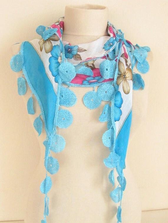 Turkish YEMENI BLUE  Scarf ..wedding,bridal,scarf,authentic, romantic, elegant, fashion,april,spring