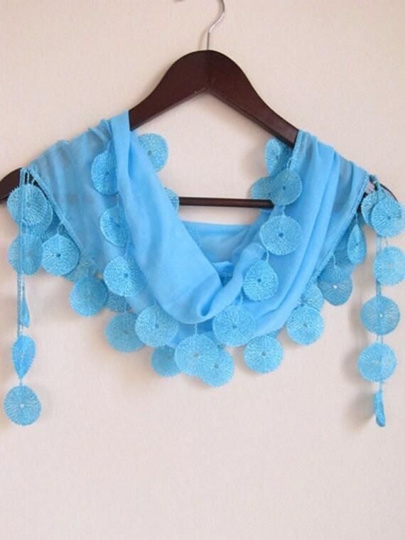 Traditional  Turkish Fabric Fringed BLUE Guipure  Scarf ..wedding,bridal,authentic, romantic, elegant, fashion
