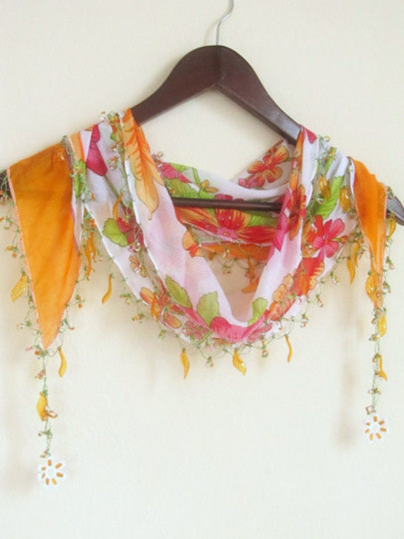 Traditional Turkish Oya  Scarf...authentic, romantic,elegant, fashion,weddings,bridal,vintage,spring trends,fasion,amber