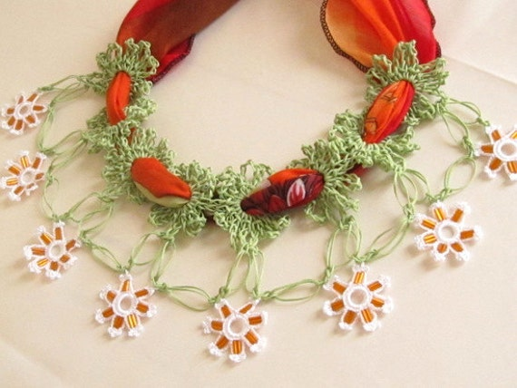 YEMENI  necklace green,orange, multicolor, spring,summer,wedding