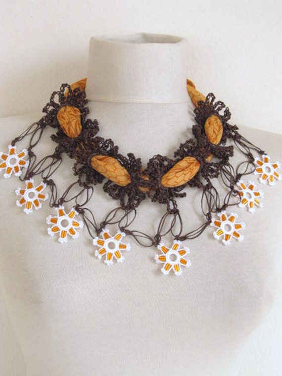 Crochet necklace / orange-brown mixed,multicolor, romance ,spring / mothers day