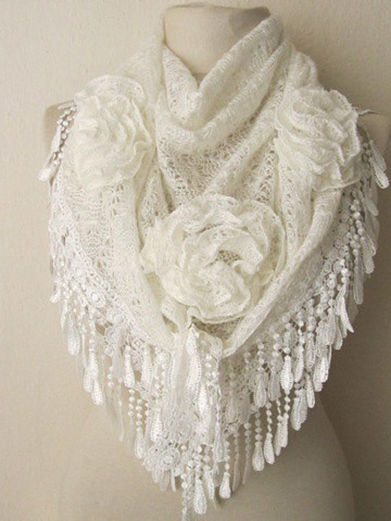 Triangle Cream Shawl-Scarf .charismatic accessories, shawl, fashion, necktie, shrug, wrap, stole, capelet, scarflette,
