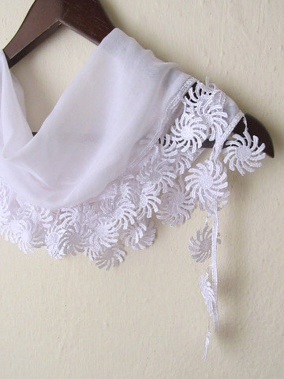 Woman -  Fringed Guipure Scarf -Fabric Knitted Lace Scarf - Shawl Scarf Cowl Scarf - Long Scarf