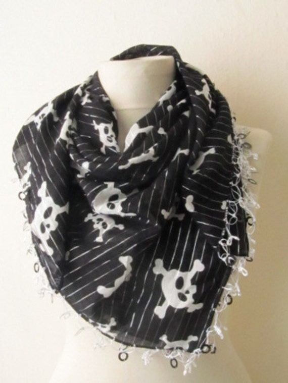 SKULL BLACK -White  Silver Color Stripe Yemeni Square Scarf ..bridal,authentic, romantic, elegant, fashion,