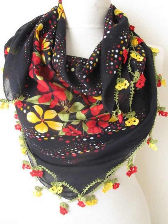 BLACK-Yellow-Red scarf  Multicolor SQUARE scarf  Turkish Yemeni OYA Scarf ..