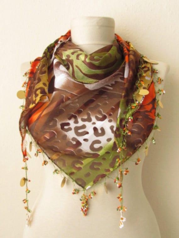 Tringle  Leopard -Brown-Green-Orange fabric  Scarf .,authentic, romantic, elegant, fashion
