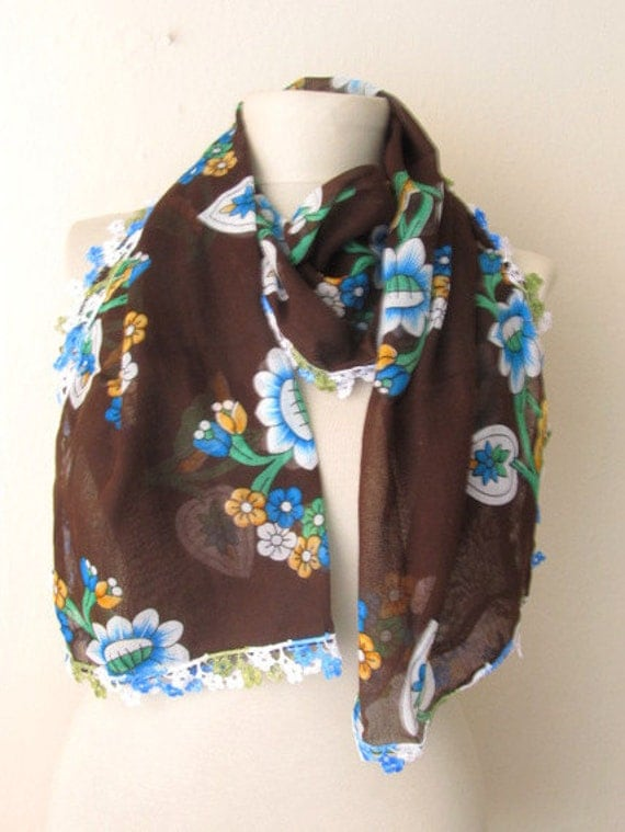 Scarf sale - Flowers Fabric scarf - Rectangle scarves - Guipure Scarf - scarf fashion -cotton scarf