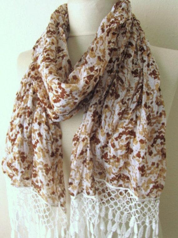 Fabric Rectangle scarf  Guipure Scarf ..authentic, romantic, elegant, fashion