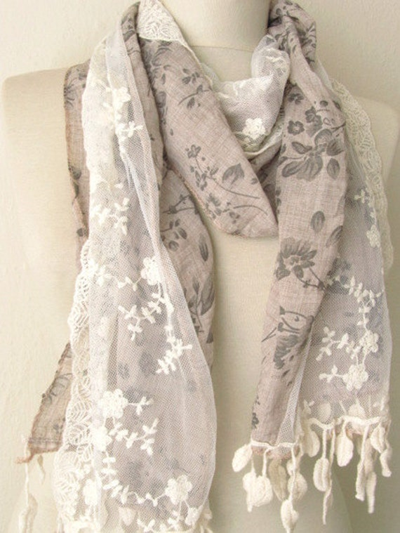 NEW...Fabric-Tulle  Rectangle   Scarf ..authentic, romantic, elegant, fashion