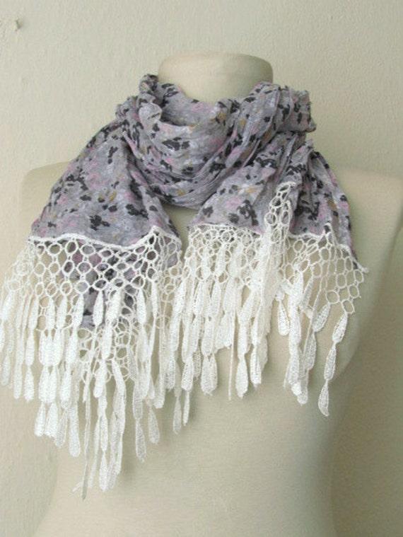 Fabric Rectangle  Guipure  Scarf ..authentic, romantic, elegant, fashion