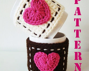 Symbols Crochet PATTERN - PDF format - Mug Cozy with Heart - Instant download