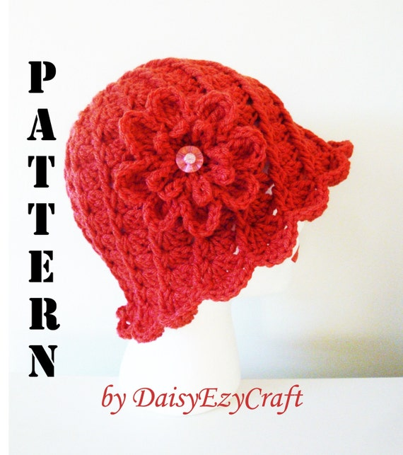 Symbol Crochet PATTERN and Colorful step by step images - PDF format - Crochet Hat - Twirl Lady Cloche - Instant download
