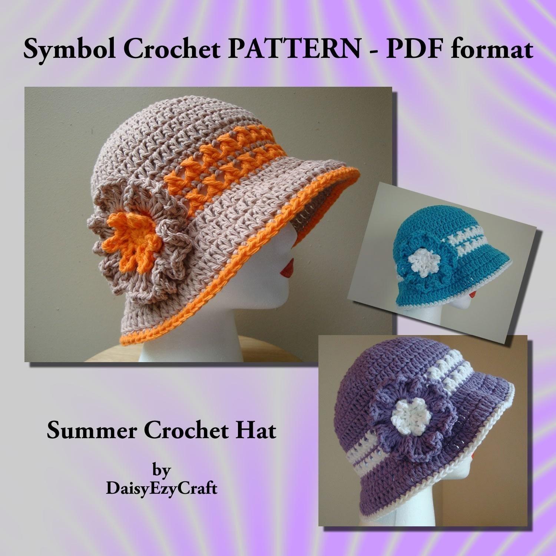 Easy Crochet Summer Hat Pattern Free : Symbol Crochet PATTERN PDF format Summer crochet hat