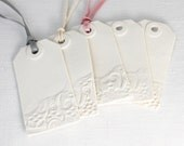 2 lace clay luggage tags white porcelain ceramic place setting luxury gift wrap made to order