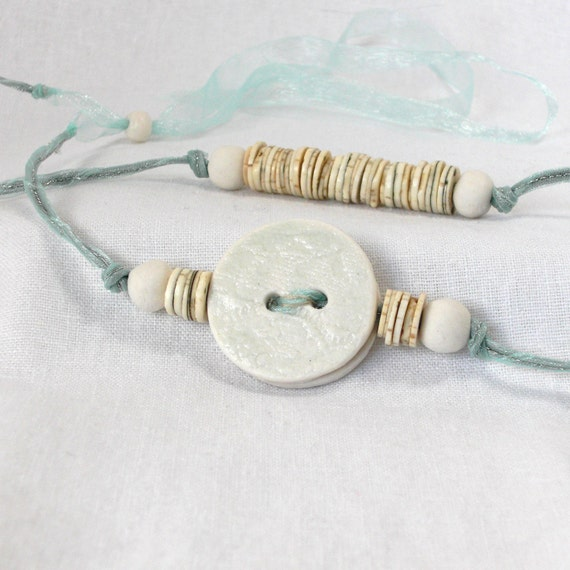 Assymetric beaded necklace pastel green jade natural porcelain button eggshell gift for her