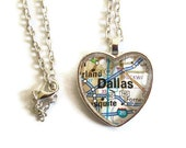 Dallas Map Necklace, Texas,  Heart Pendant with Chain, Texas Necklace, Dallas Jewelry, Silver or Bronzed