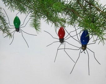 Small Lucky Christmas Spider Christmas Tree Ornaments Set of 3 Made to Order