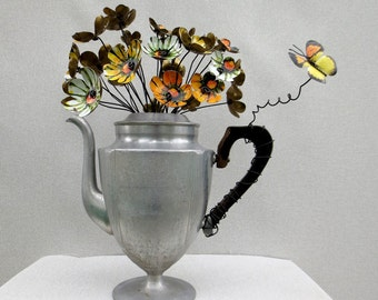 Beautiful Centerpiece of Metal  Daisies with Butterfly In Vintage Coffee Pot Vase