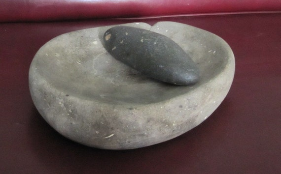 Carved Stone Matate, Reproduction Artifacts Mortar and Pestle