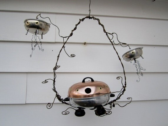 UFO Mother Ship Birdhouse with Surveillance Flying Saucers