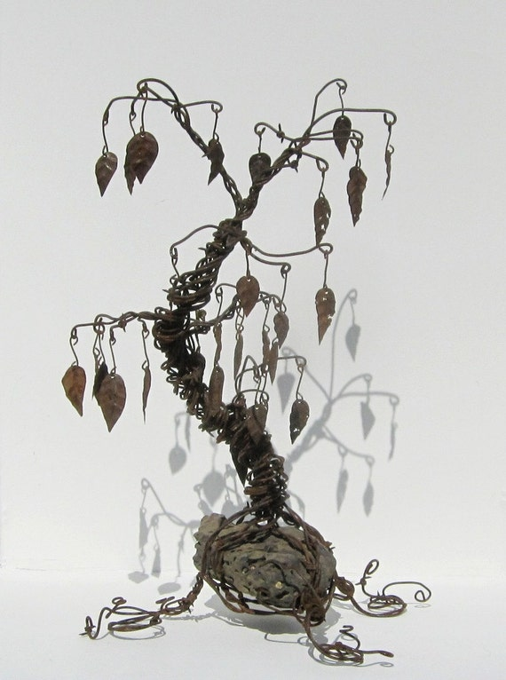 Twisted Barbed Wire Tree Sculpture with Rusty Metal Leaves