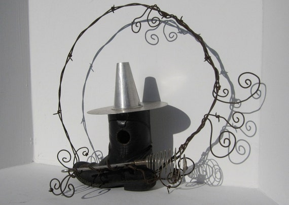 Witch Cowboy Boot Barbed Wire Birdhouse With Whisk Broom