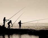 Beach Fishing Photograph - Three Fishermen - Silhouette Mediterranean Sea Ocean Fishing at Dusk Fine Art Photograph