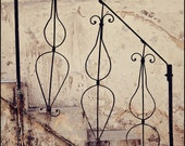 Vintage Wrought Iron Bannister 5x7 Fine Art Photograph - Israel Photography - Travel Photography - Tel Aviv - Sepia Black and White