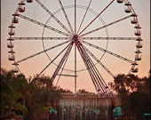 Ferris Wheel - Carnival Art - Dusky Pink Sky - Made in Israel Photography