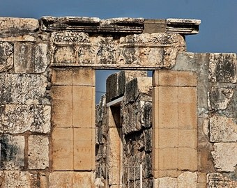 Capernaum's White Synagogue - Israel Travel Photography - Christian Holy Site - 5x7 Fine Art Photograph