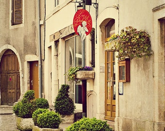 Le P'tit Paradis - Beaune France Photography - French restaurant 5x7 photo - Fine art travel photography