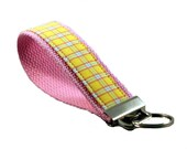 Pink and Yellow Plaid - Wristlet Key Fob