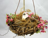 Christmas Ornament - Pink Bird in a Nest with Pink Flowers 110