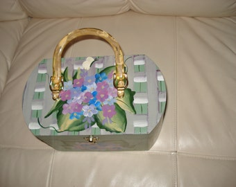 Hand painted wooden purse with Hydrangea bouquet