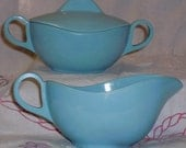 Vintage 1950's-1960's 2pc Speckled Aqua Blue Melmac Melamine Atomic Cream & Sugar Set