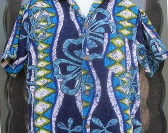 Vintage 1950's-1960's Royal Hawaiian Bark Cloth Man's Shirt - Hawaii-5-O / Mad Men