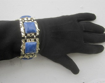 Vintage 1950's Chunky CORO Bracelet Gold Toned Metal with Blue Faux Stones