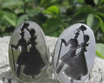 Vintage 1960's Steam Punk Silver & Black Victorian Couple Cuff Links -Mad Men  Accessories