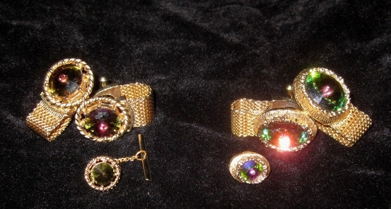 Vintage 6pc 1970s Swank Elvis-In-The-One-Piece-Glitter-Jumpsuit Jeweled Cuff Link  Set