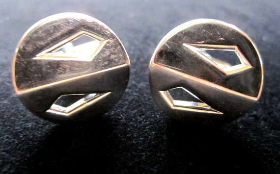 Snazzy Vintage Silver  Diamond Shaped Cut-out Round Swank Cuff Links a la Mad Men