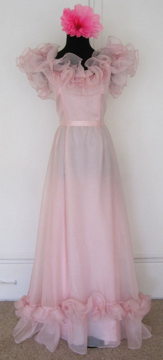 Vtg '60's Off the Shoulder Cotton Candy Pink Prom Dress / Glinda The Good Witch Costume