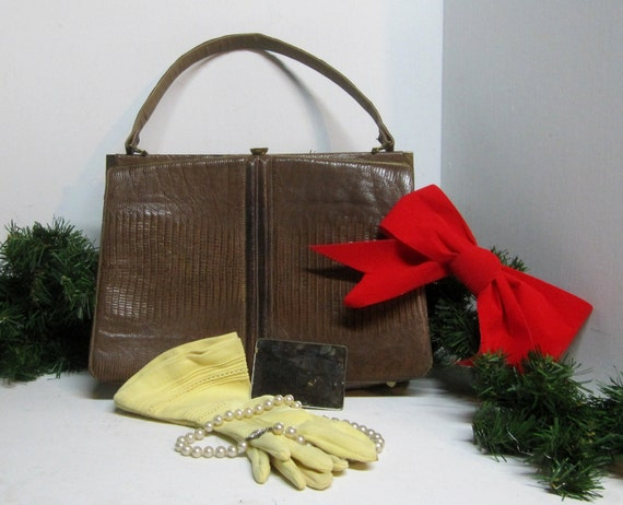 Vintage 1950s-1960s Lizard Skin Handbag Purse -A Wonderful Gift for Your Retro Loving Lady