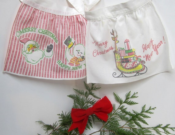 """Vintage 1950's Childs Novelty Holiday Aprons """"Merry Christmas"""" & """"Happy New Year"""" Set of 2"""