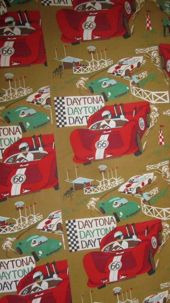 Vintage Fast and Furious Kid's Race Car Bedspread - Daytona & Le MansTwin Bed Blanket